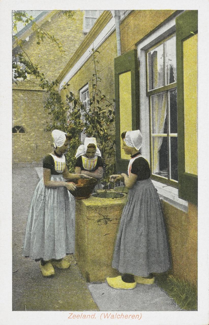 Ansichtkaart met streekdracht