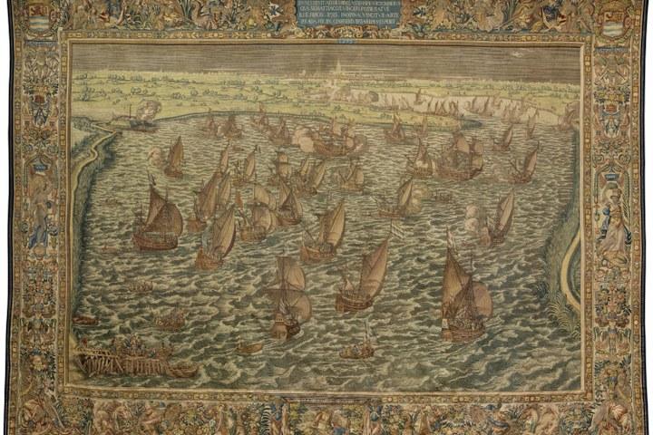 Wandtapijt Slag bij Lillo, Jan de Maecht, Hendrik Cornelisz. Vroom, Hubrecht Leyniers, 1597 - 1598
