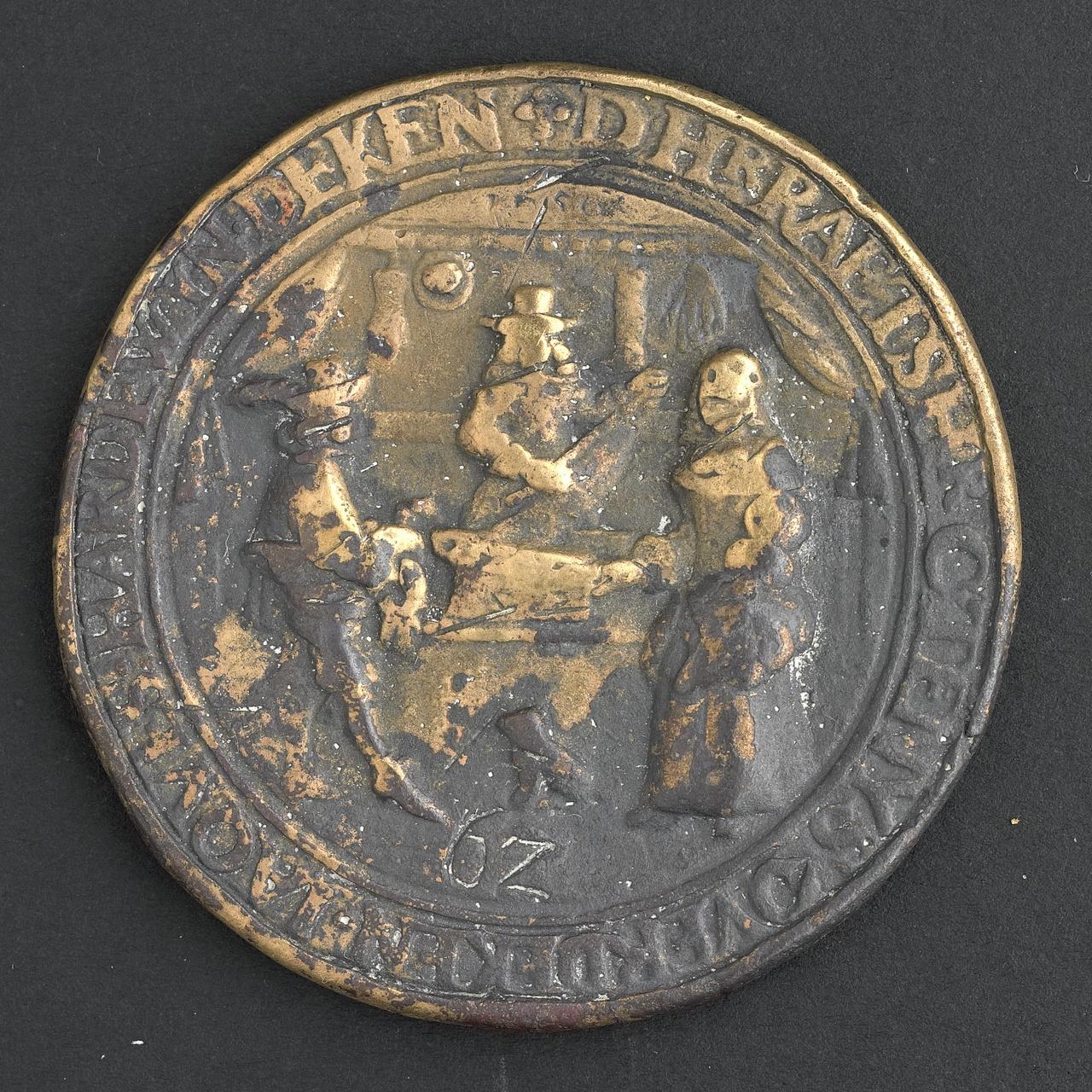 Penning van het gilde van zijde-, wol- en lakenkopers en kramers te Middelburg, 1656