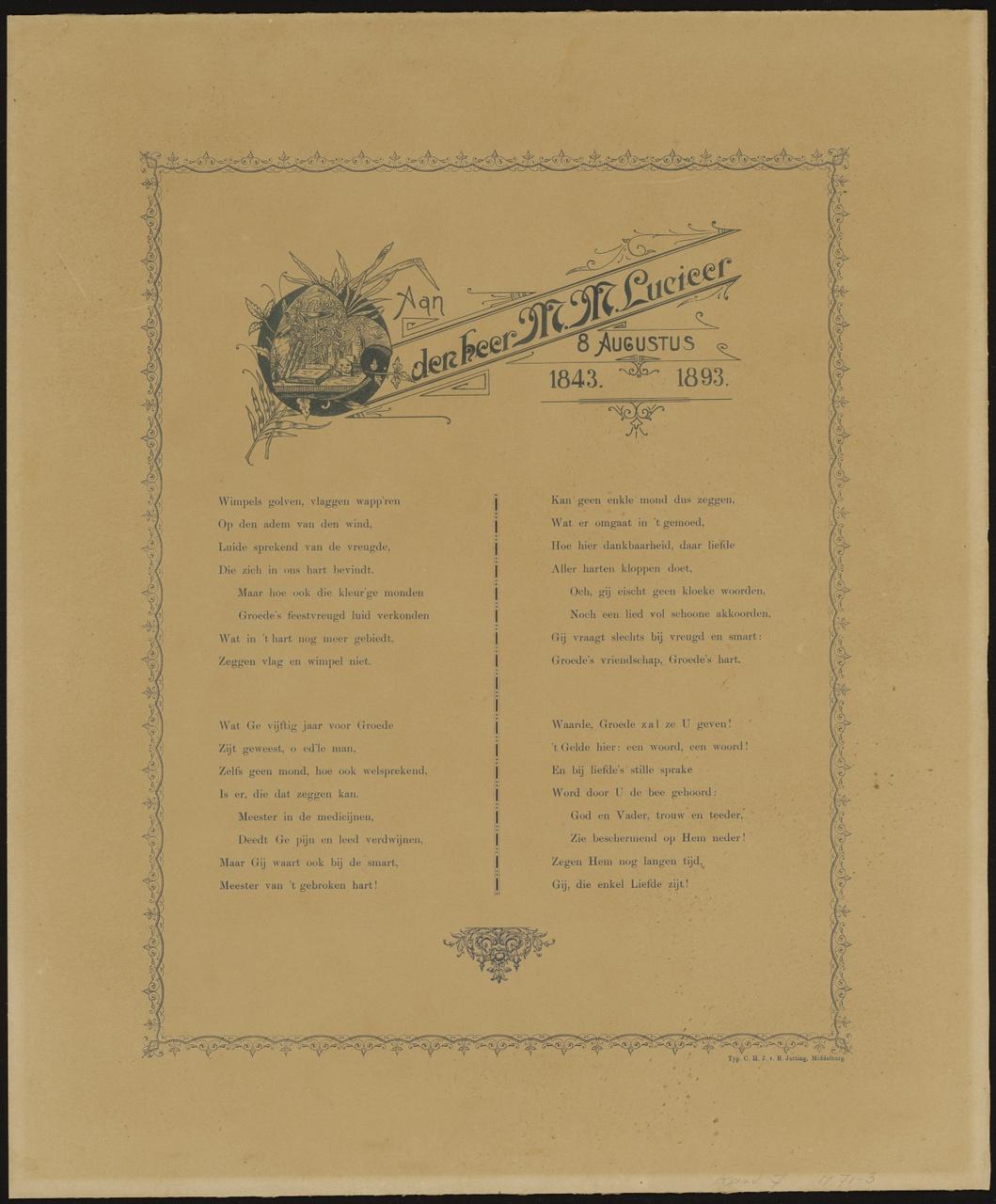 Gedicht opgedragen aan de heer M.M. Lucieer, P.M. Louwerse