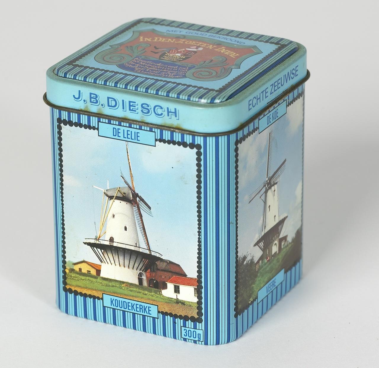 Blik voor boterbabbelaars met afbeeldingen van Zeeuwse molens