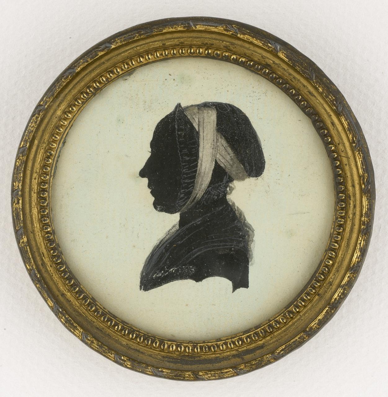 Miniatuur imitatieknipsel met portret en profil van J.C. Geene.