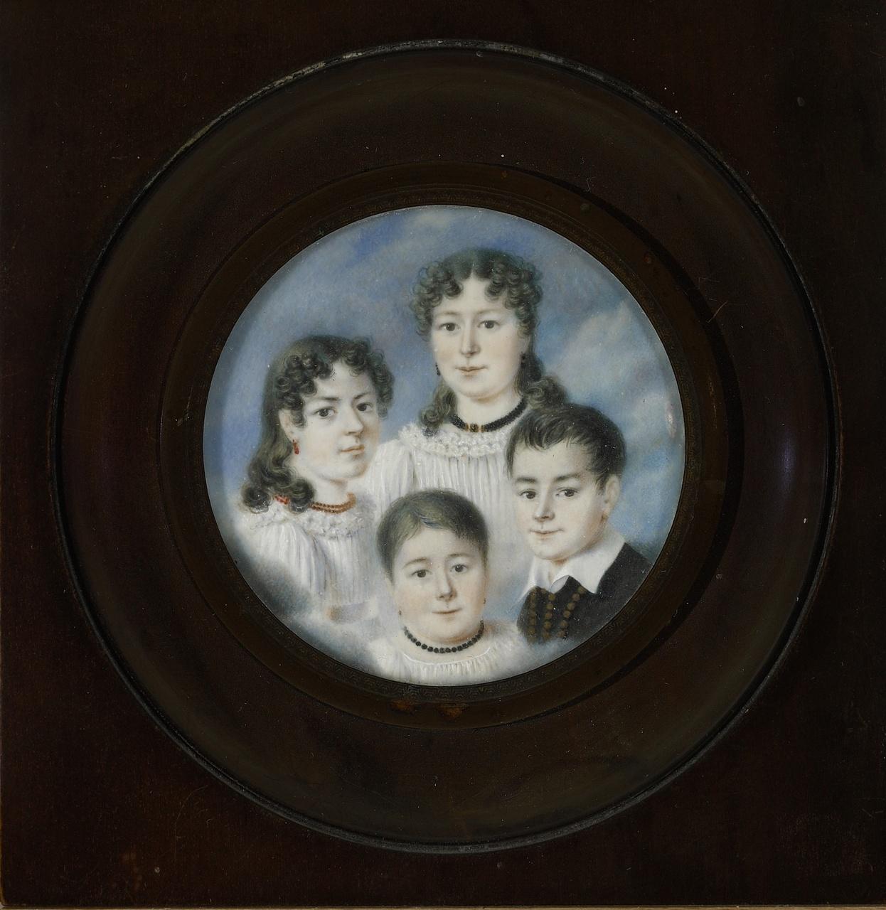 Groepsminiatuurportret van de kinderen Ackermans, Anoniem