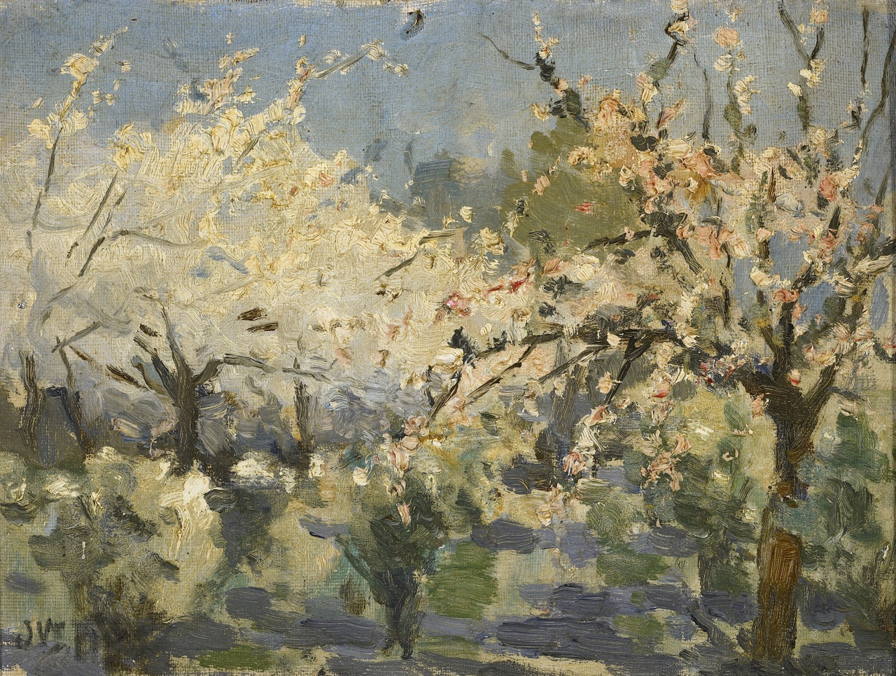 Tuin met bloeiende bomen, Willem Johannes Schütz