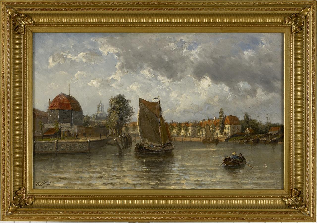 Gezicht op Middelburg vanaf de Arne, Willem Johannes Schütz