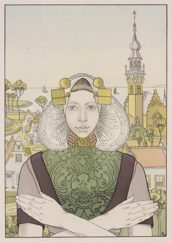 Zeeuws meisje voor het stadhuis van Veere, Franz Melchers