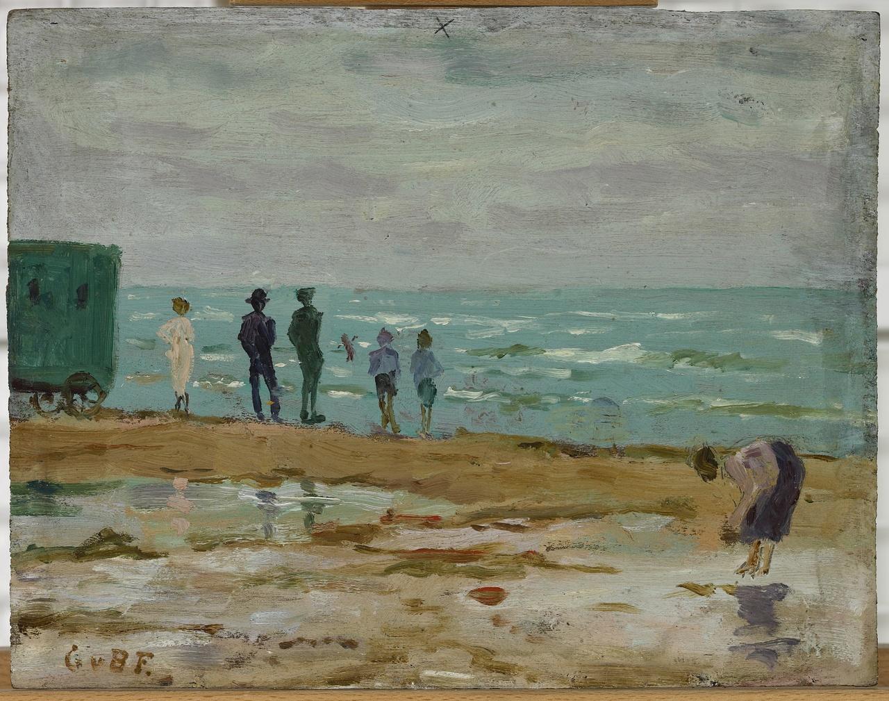 Vissersschuit in haven/Strandgezicht, Gerard von Brucken Fock