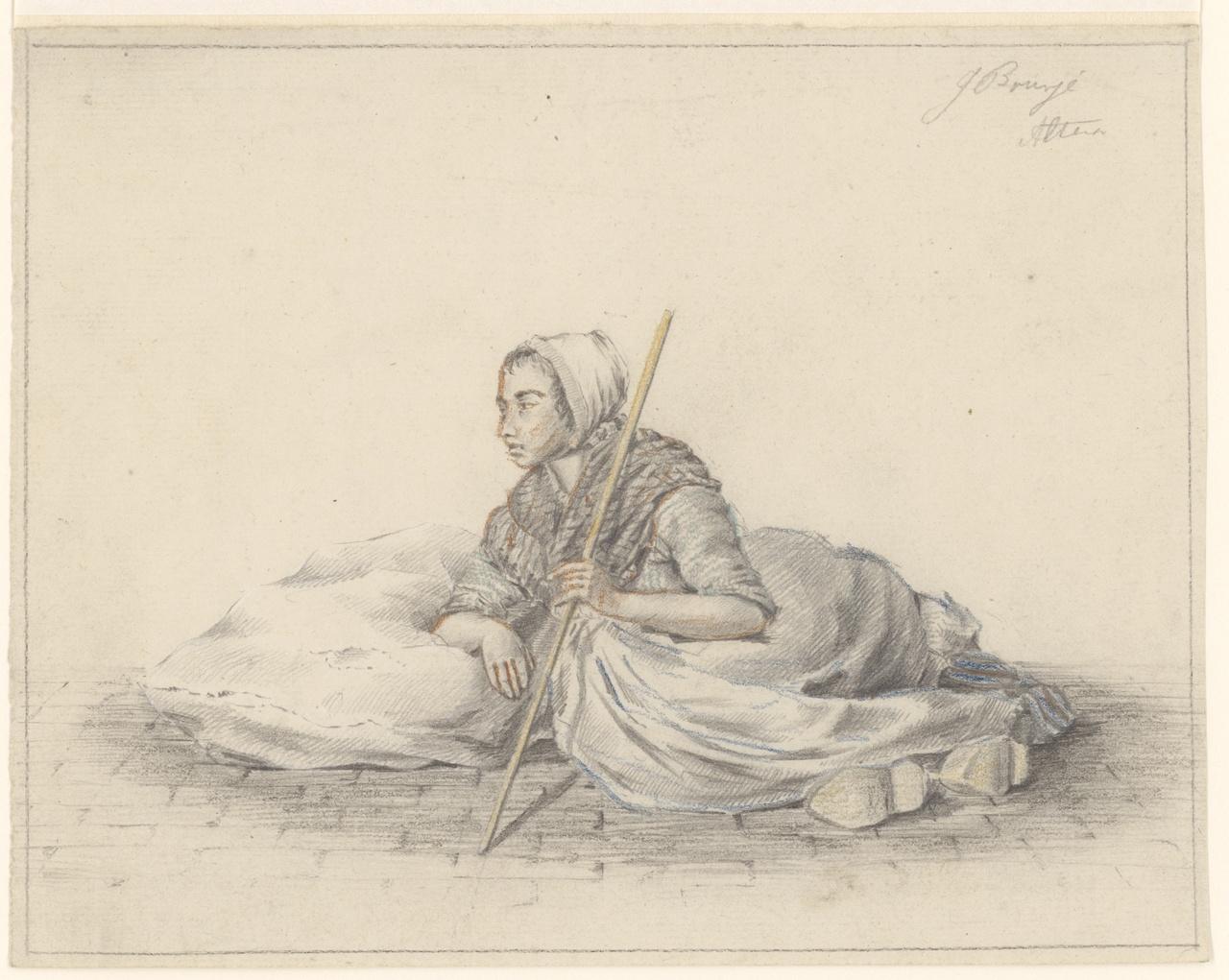 Vrouw in klederdracht, zittend op de straatstenen, Johan Pieter Bourjé
