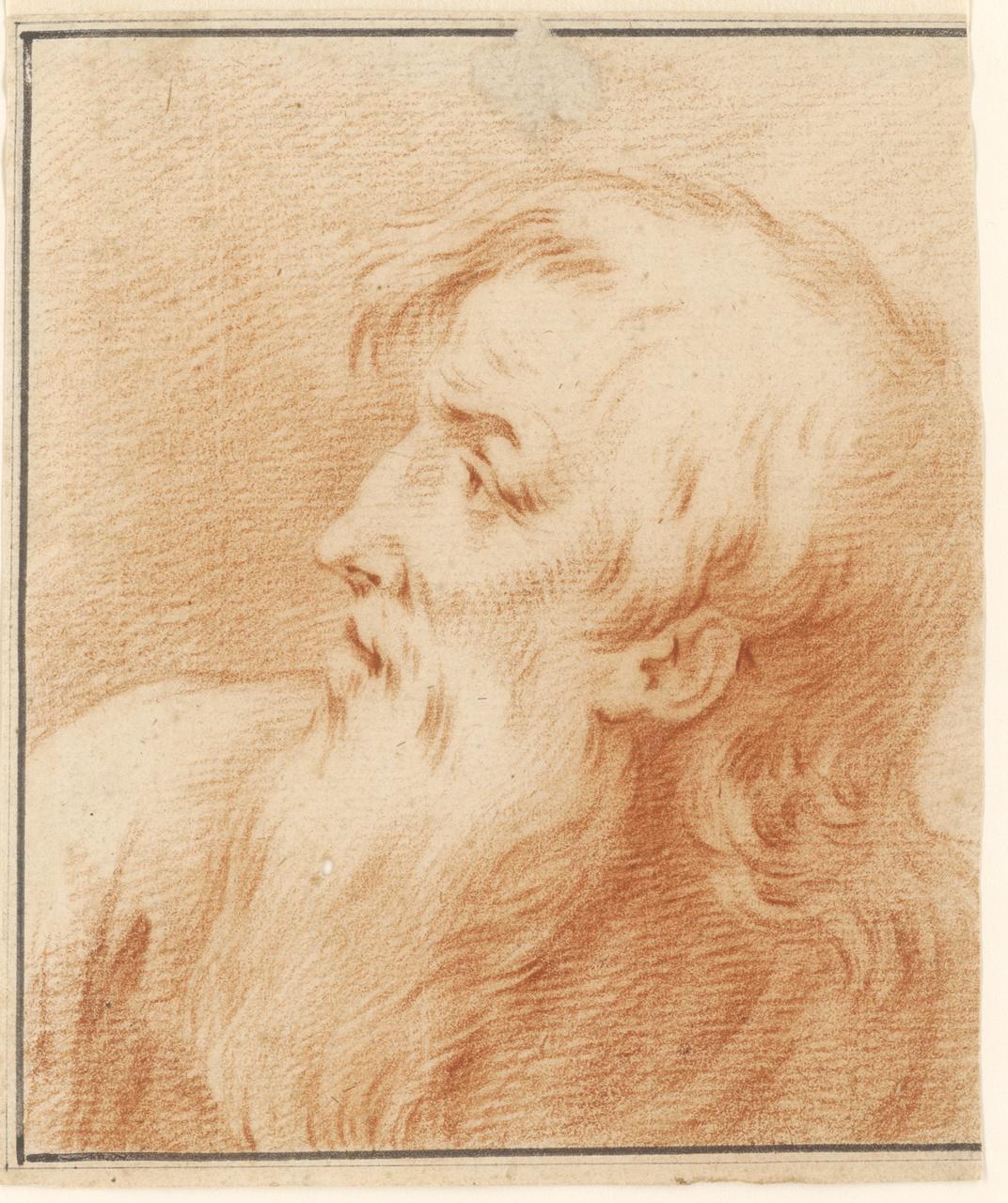 Studie van mannenkop, Johan Pieter Bourjé