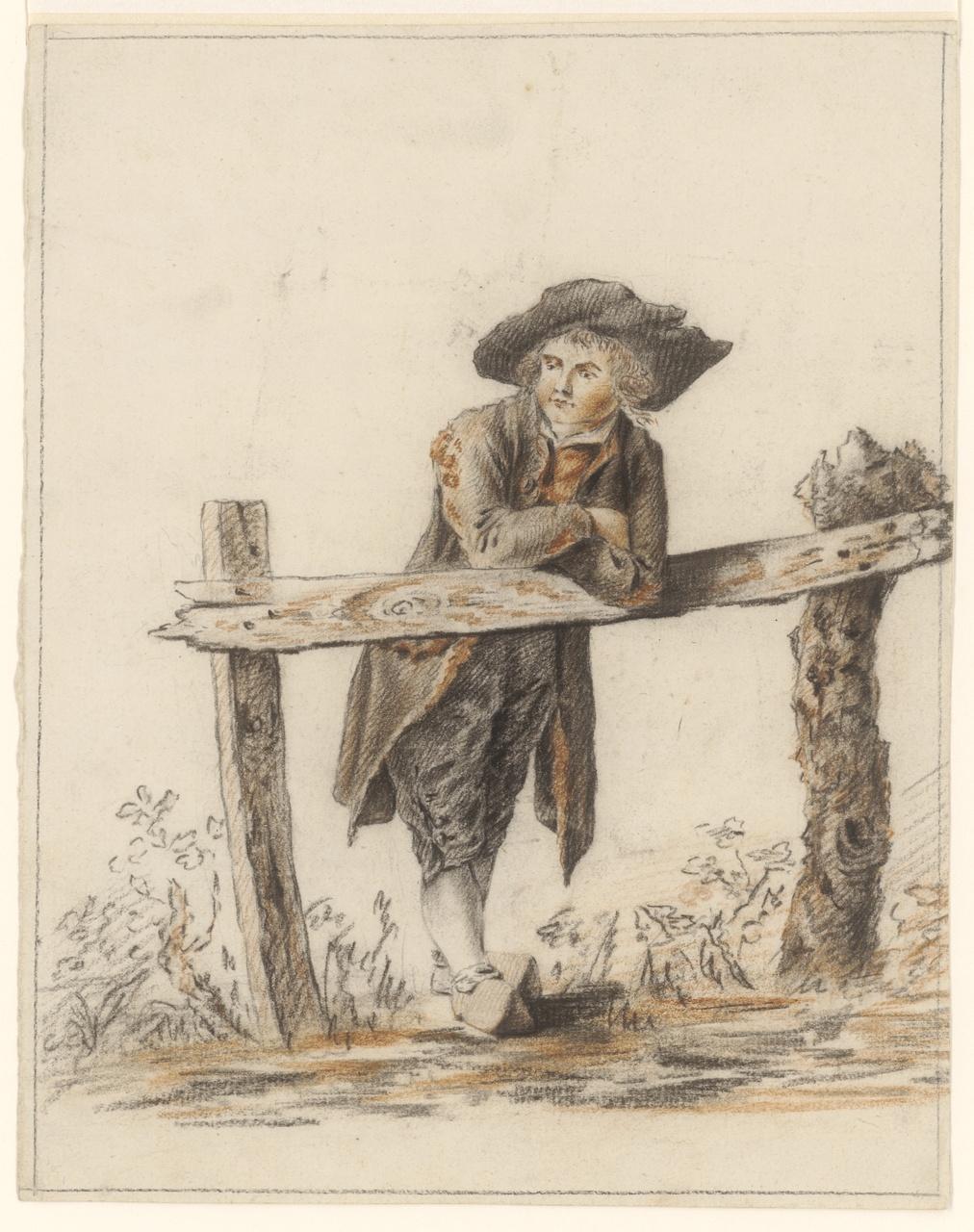 Jongen, hangend over hek, Johan Pieter Bourjé