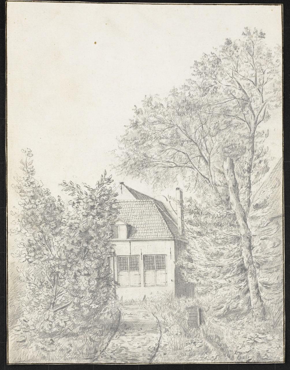 Tekening van een huis tussen de bomen