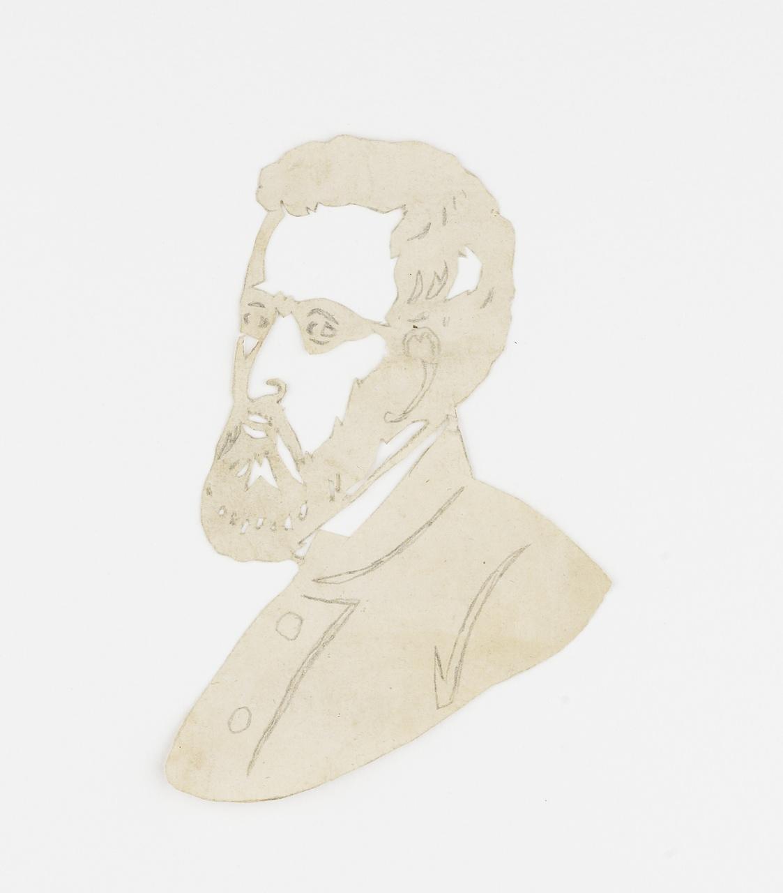 Knipsel van een man met baard en bril op