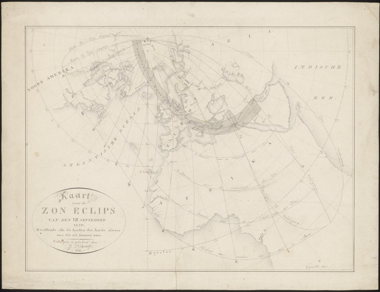 Kaart voor de Zon Eclips van den VIIden September 1820, Johan Pieter Bourjé