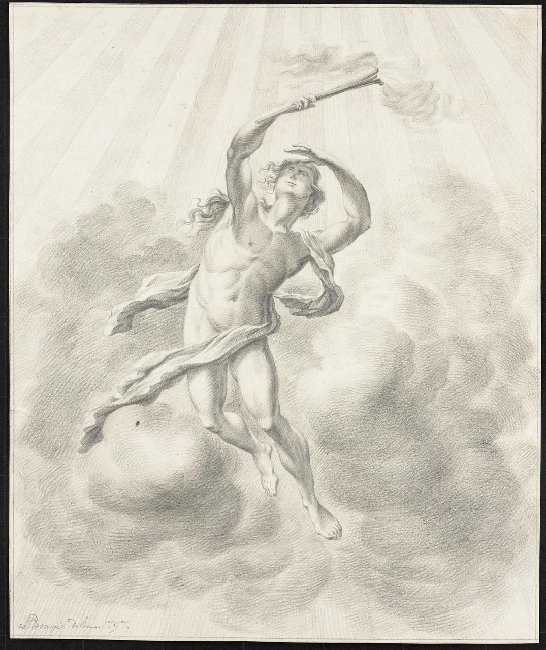 Man met toorts in wolkenlucht met stralen, Johan Pieter Bourjé