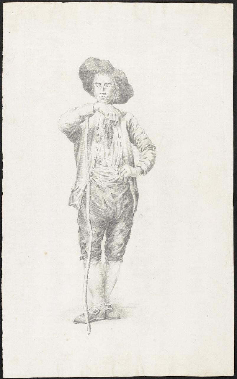 Studie van een jongeman met stok en hoed op