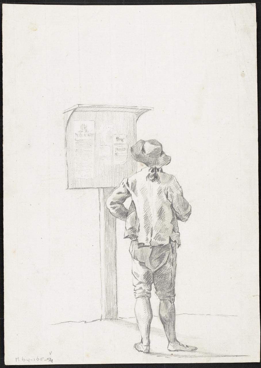 Studie van jongen die op bord met plakkaten kijkt, Johan Pieter Bourjé