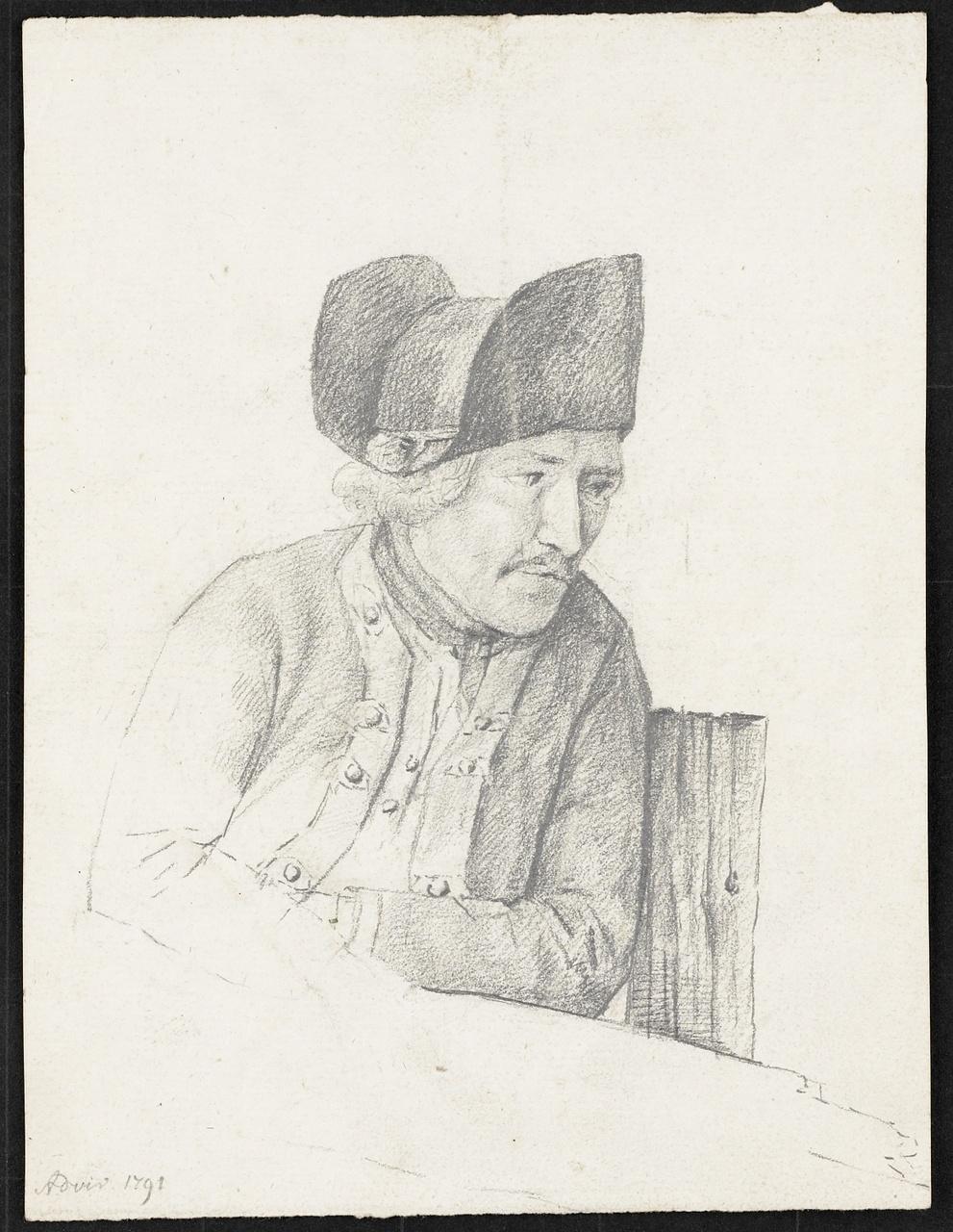 Studie van man met steek op in uniform, Johan Pieter Bourjé