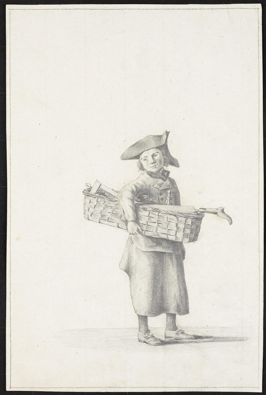 Studie van een jongen met rieten mand, Johan Pieter Bourjé