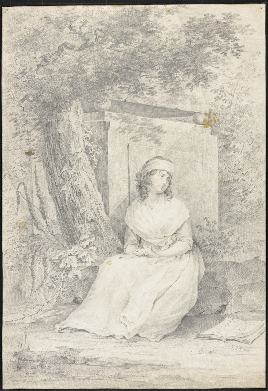 Studie van een jonge vrouw in een landschap, Johan Pieter Bourjé