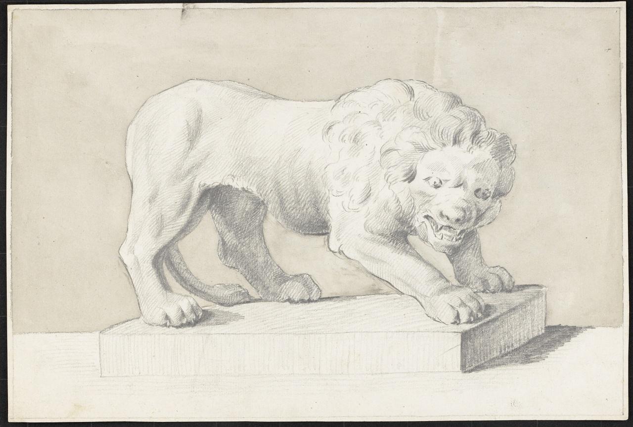 Studie van een staande leeuw op een voetstuk, Johan Pieter Bourjé