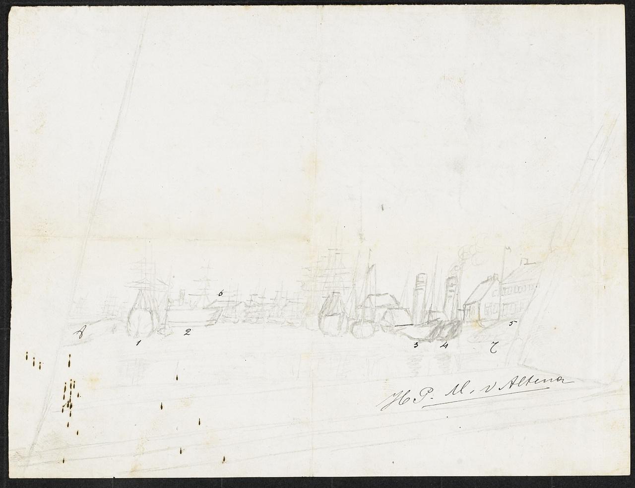 Ruwe schets van een stad met schepen