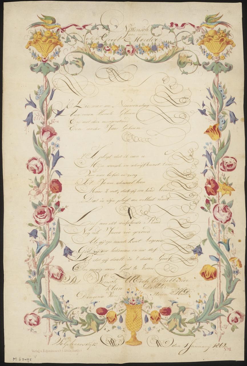 Nieuwjaarwens van Dingena van Strien uit Wolphaartsdijk aan haar grootmoeder, 1 januari 1862, F.G. Schultz