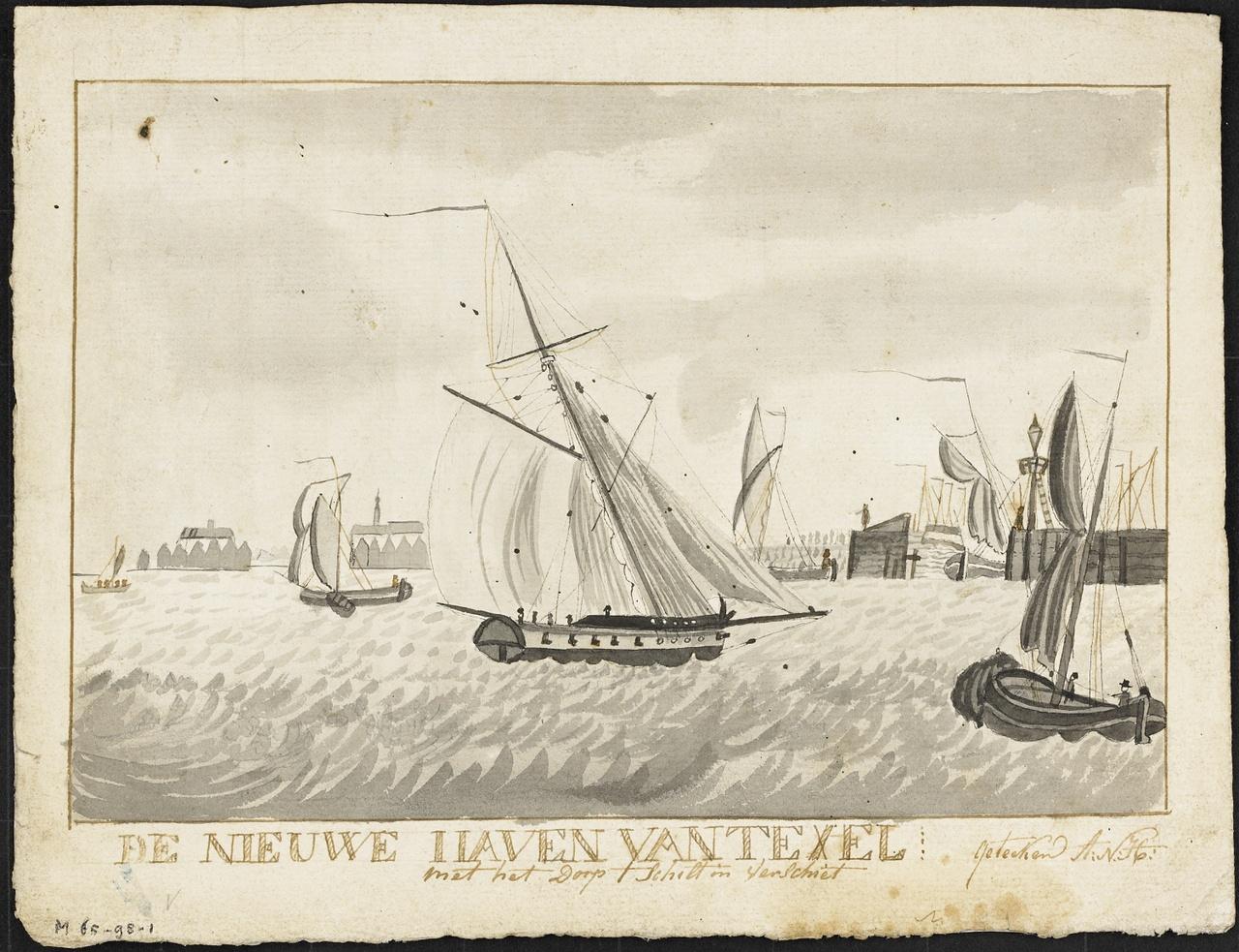 Nieuwe Haven van Texel met het dorp 't Schilt in Verschiet, A.N. Hoek