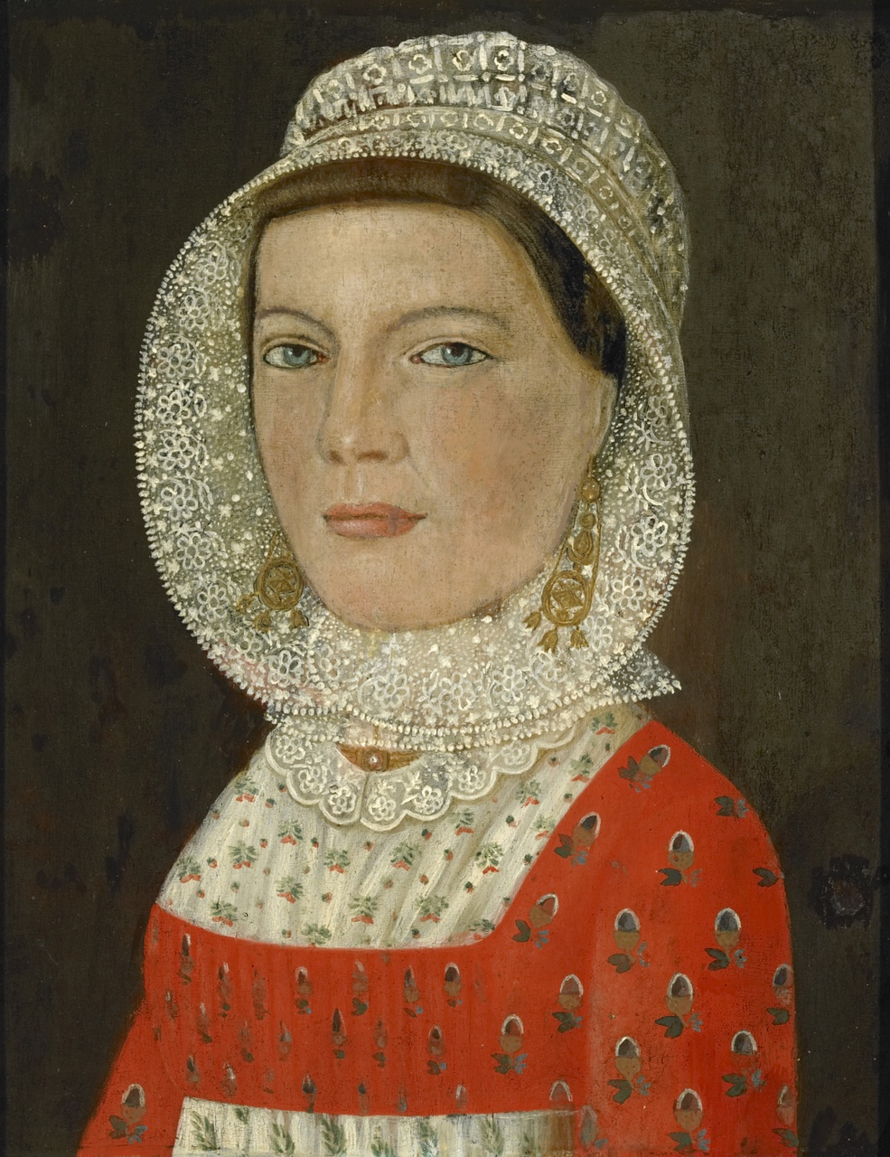 Portret van een vrouw in Cadzandse dracht, Anoniem