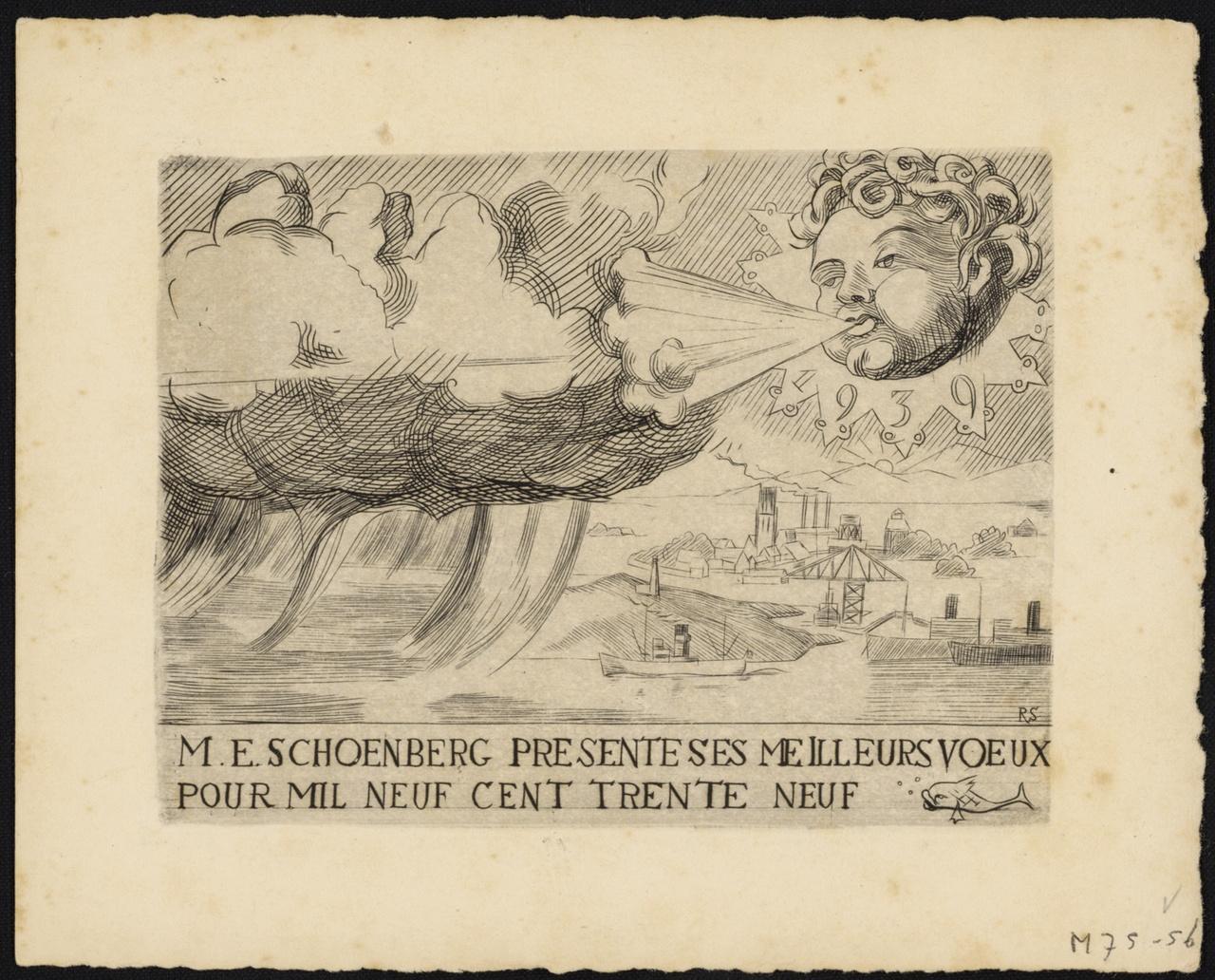Nieuwjaarskaart van M.E. Schönberg, Rudolf Schönberg