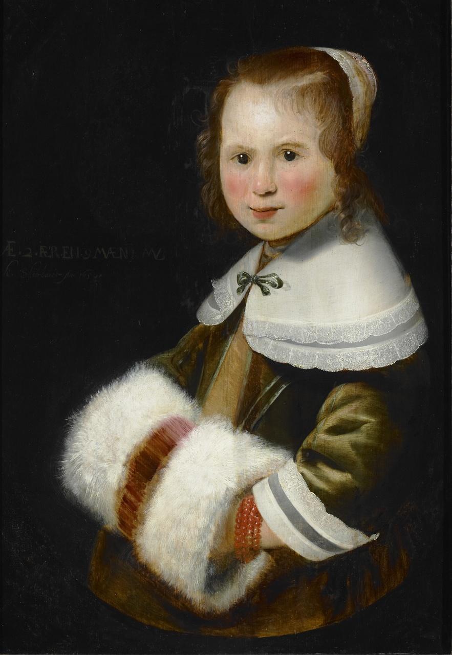 Portret van meisje met mof, Karel Slabbaert