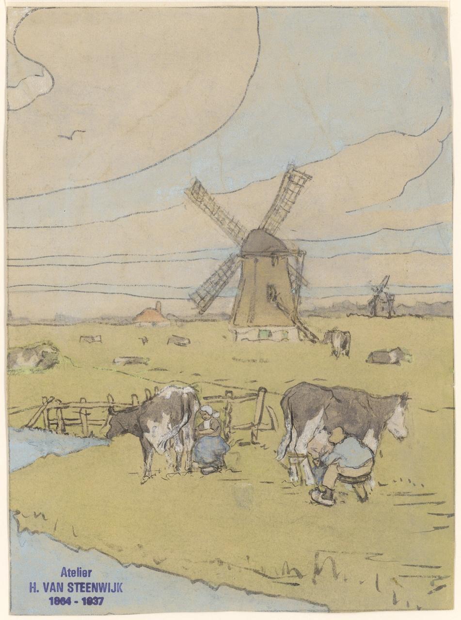 Landschap met molen en koeien die gemolken worden, Hendrik van Steenwijk