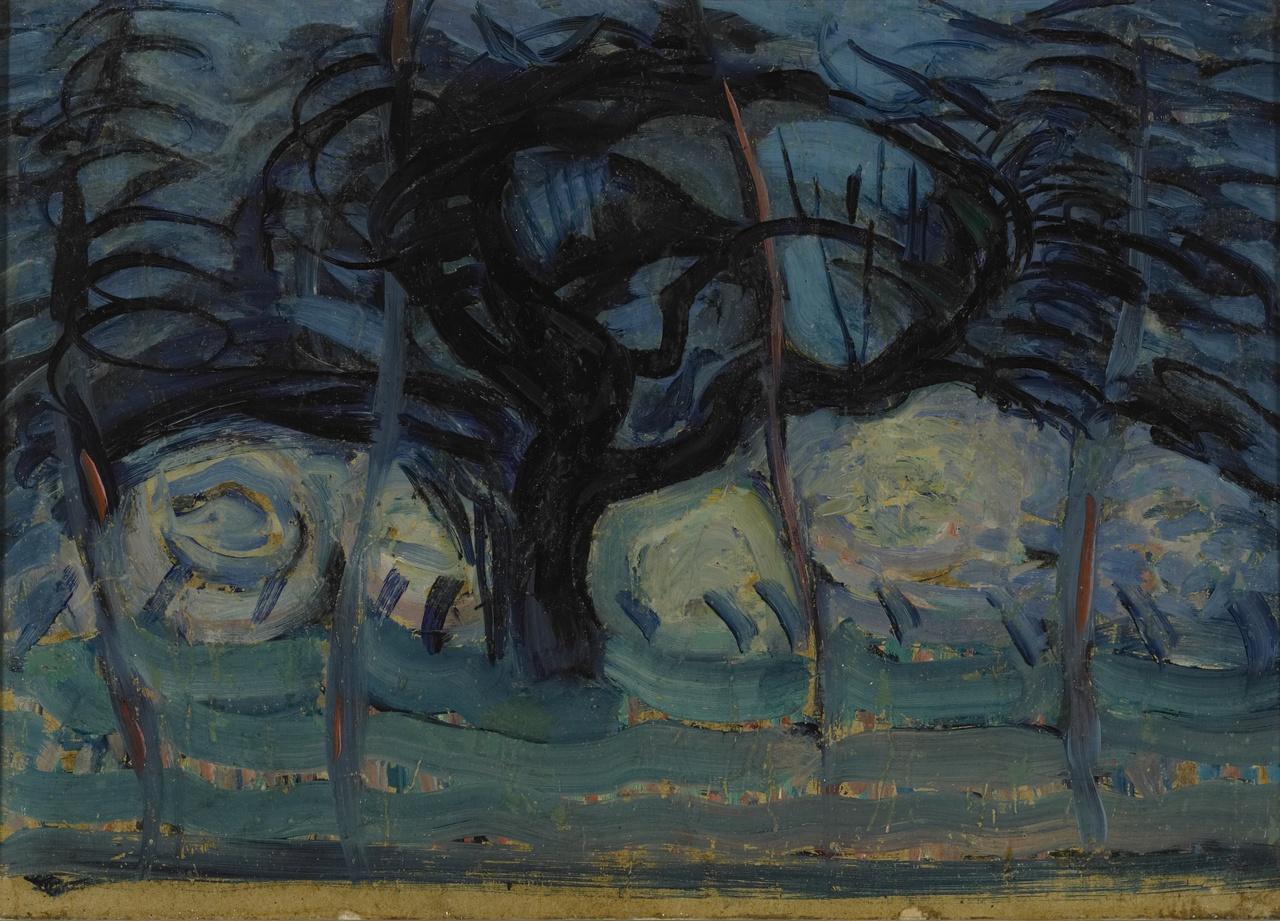 Blauwe appelboom met golvende lijnen I, Piet Mondriaan
