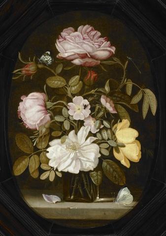 Stilleven met boeket rozen in een glazen vaas, Johannes Goedaert