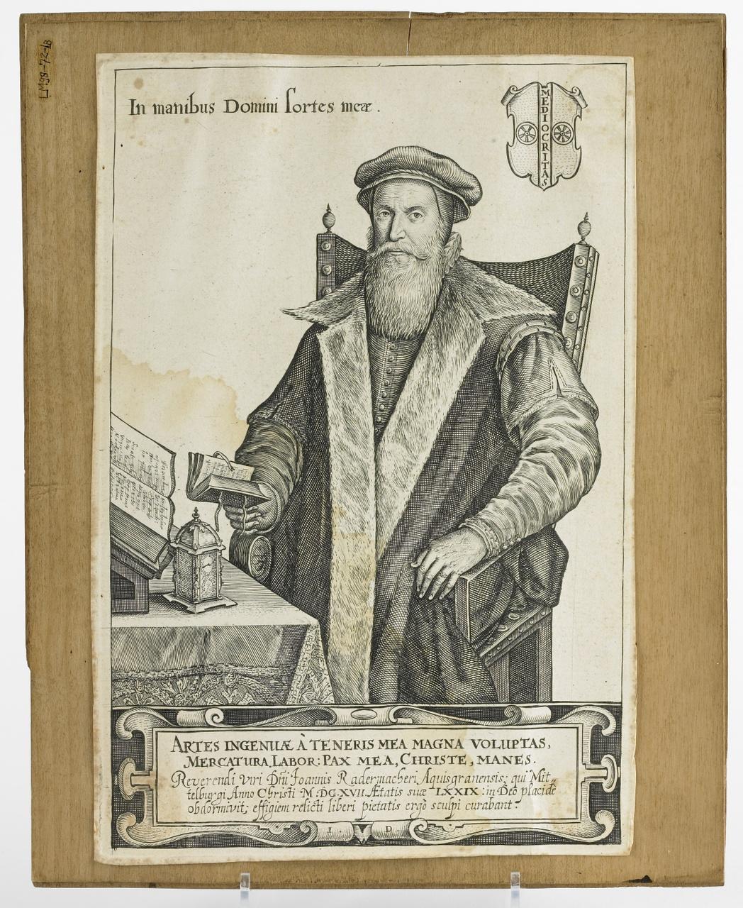 Gravure met portret van Johan Rademacher, Johan Dircksz.