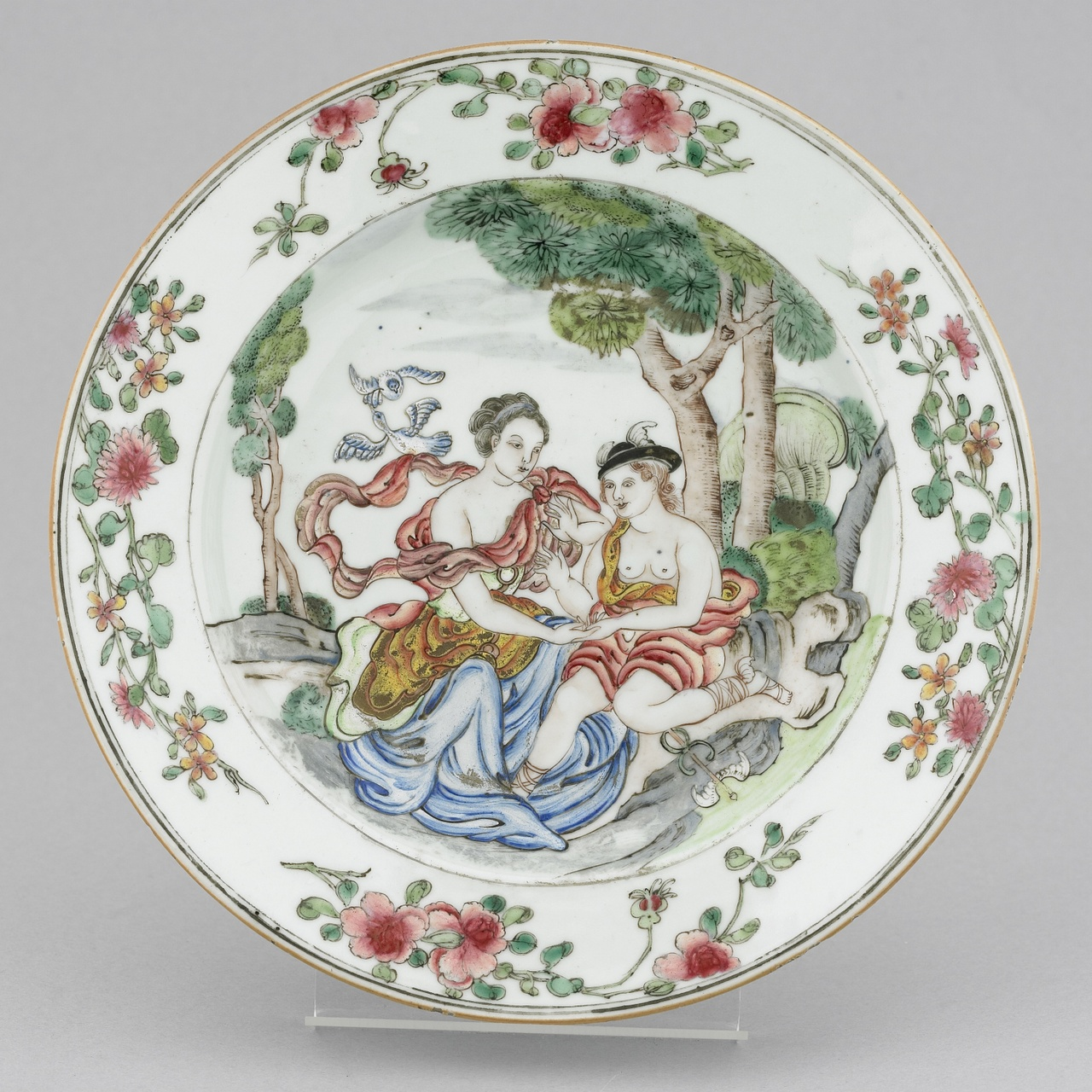 Chine de commande bord met Venus en Hermes in Famille rose kleuren