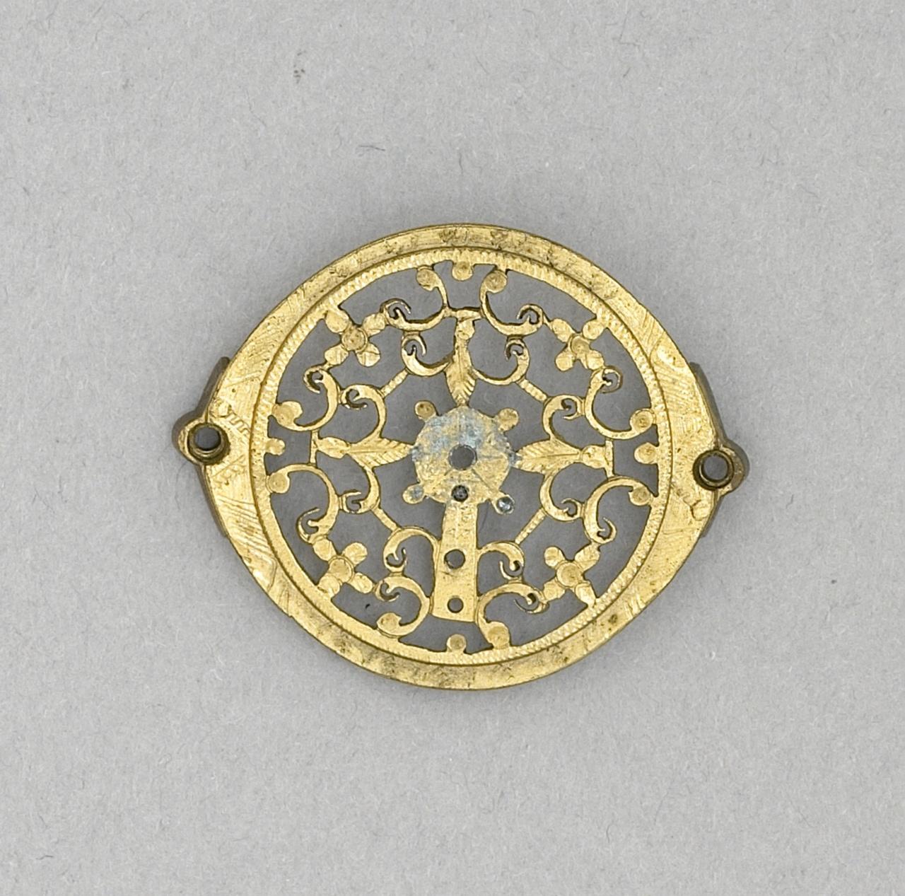 Vergulde koperen rondjes/versierselen met bevestigingspunten - broche met blauw steentje - vermaakt tot broche