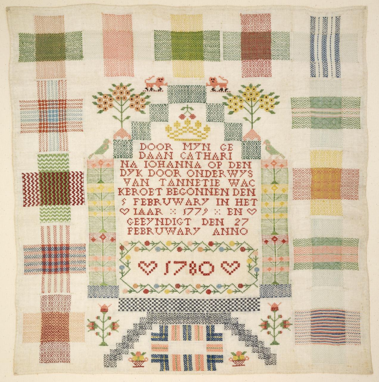 Stoplap van Catharina Johanna op den Dijk, 1780 door onderwijs van Tannetje Wackeroet, Catharina Johanna op den Dijk