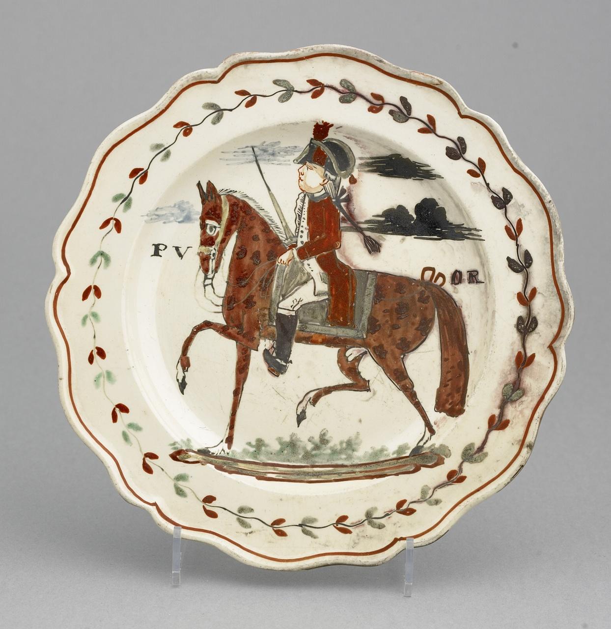 Bordje met prins Willem V te paard