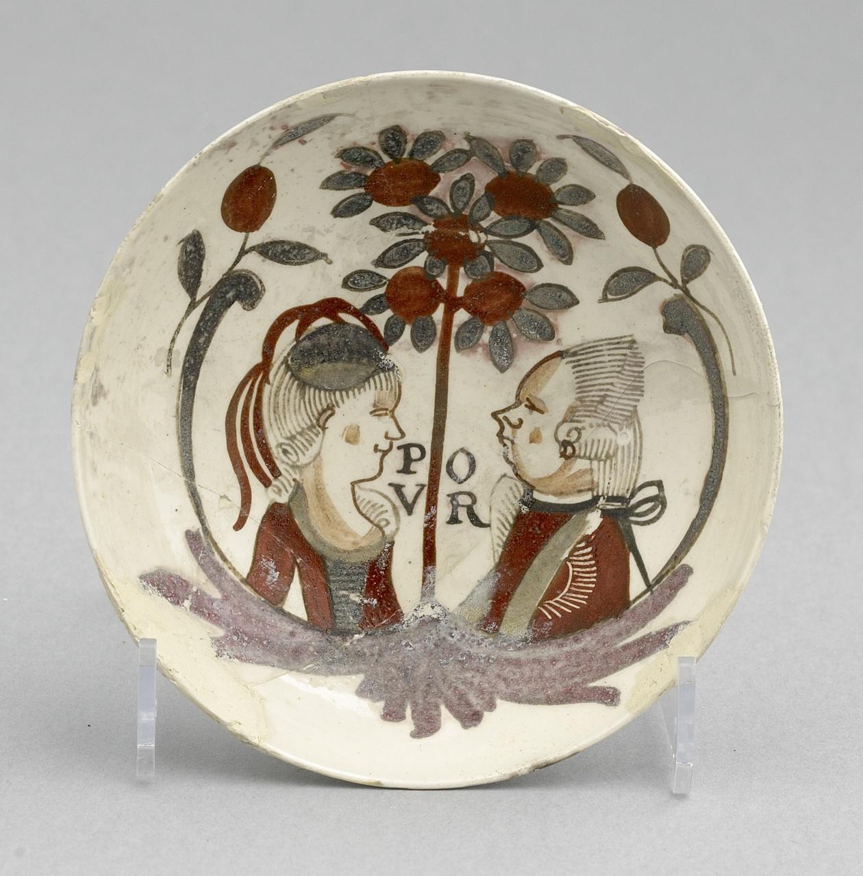 Kommetje met portretten van Willem V en Wilhelmina