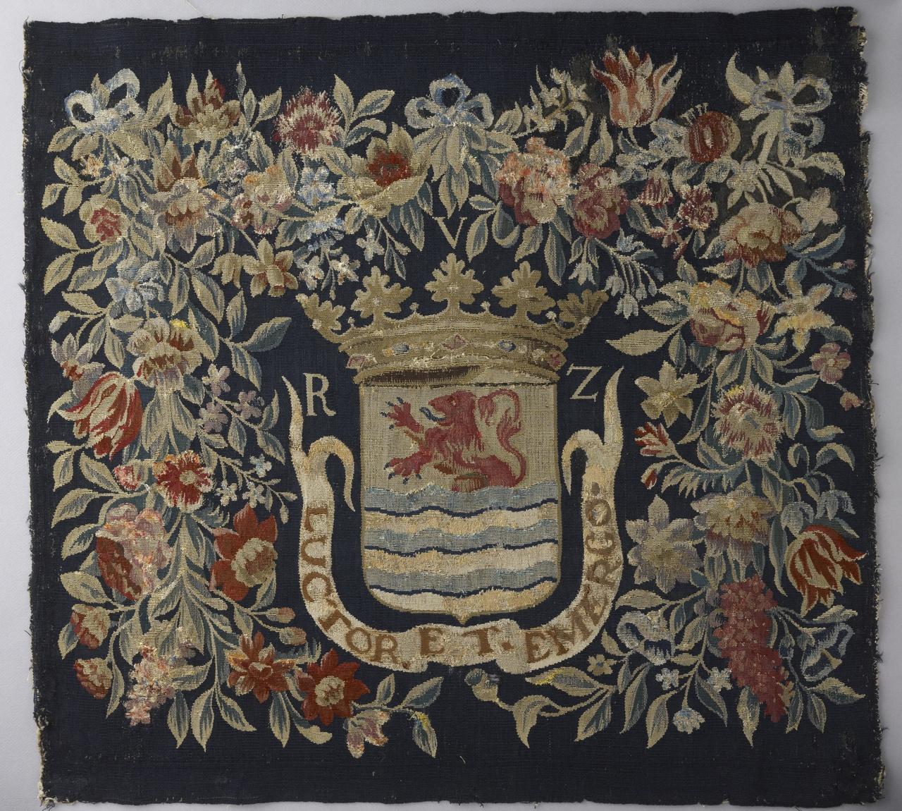 Voorpand van kussenovertrek met wapen van de Gecomitteerde Raden van Zeeland