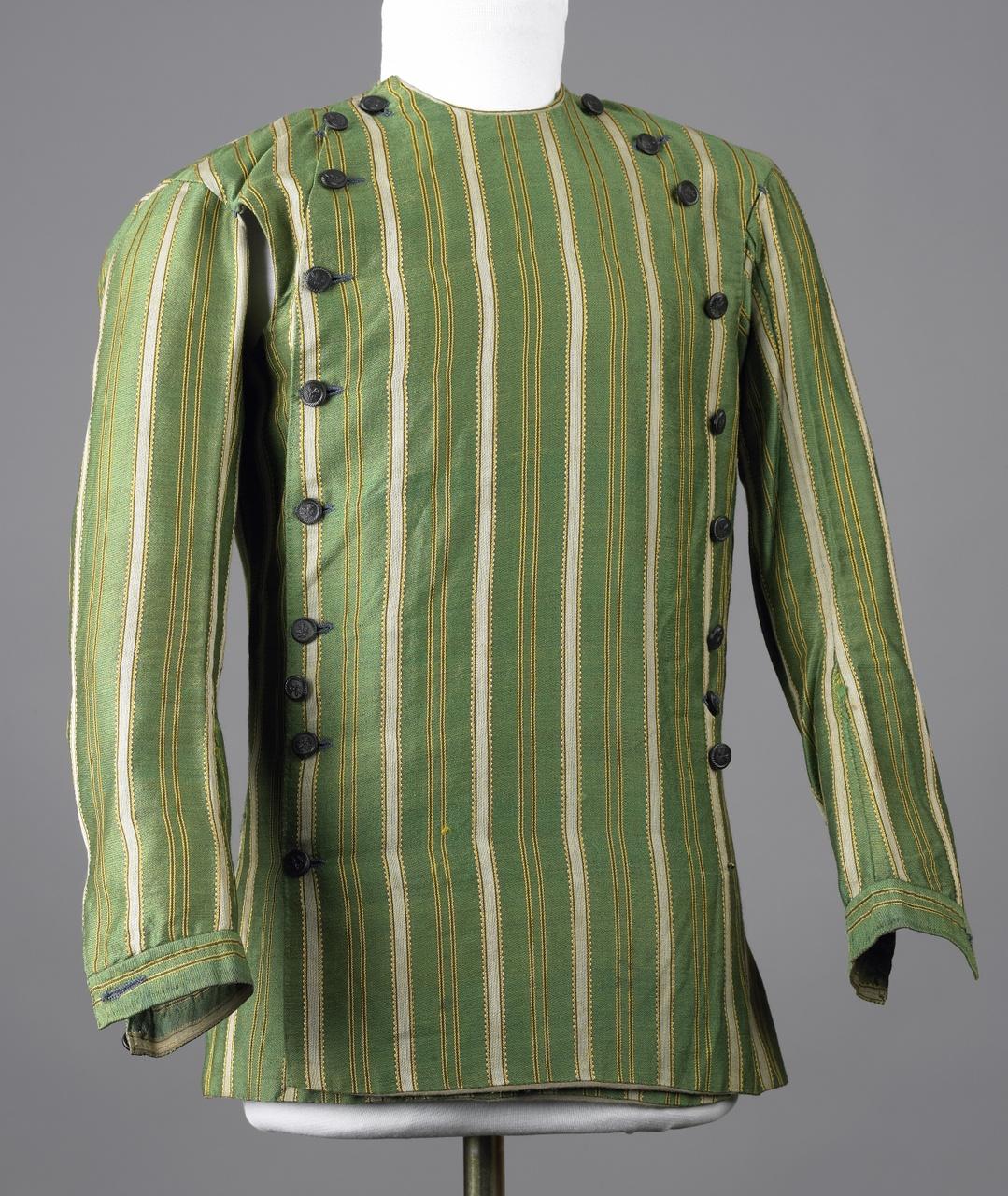 Hemdrok van groen gestreepte wol en kameelhaar