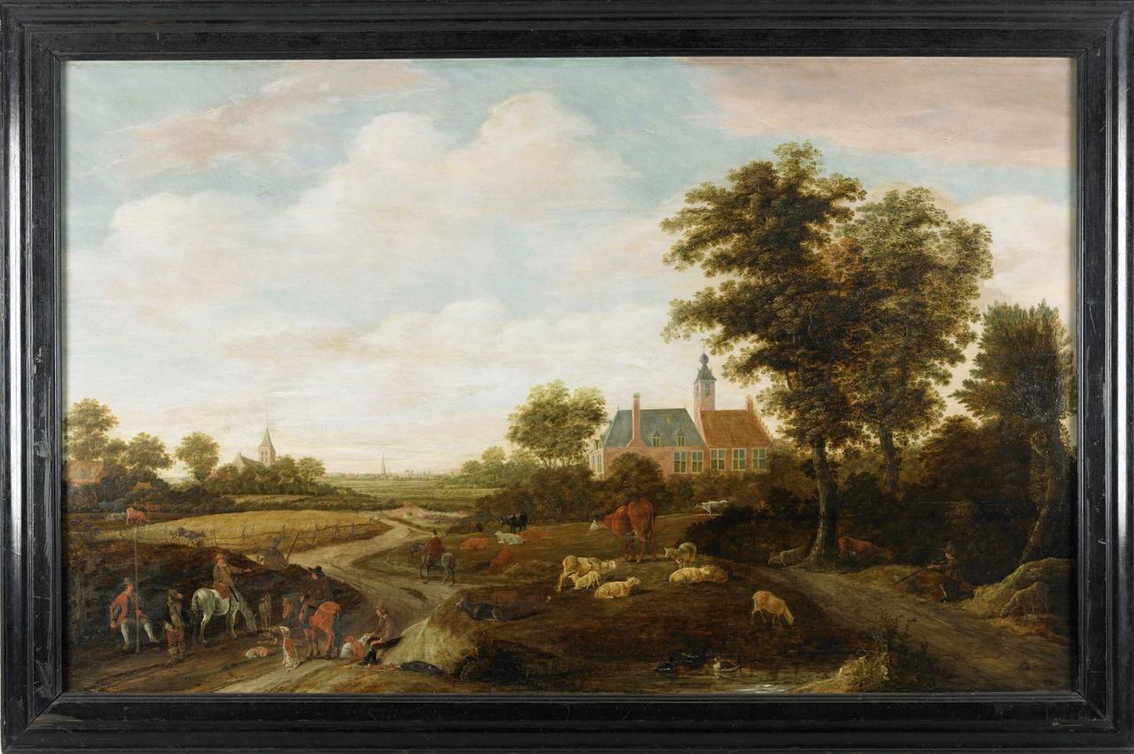 Jachthuis Ter Linde onder Ritthem, Laurens Bernards, 1644, olieverf op paneel