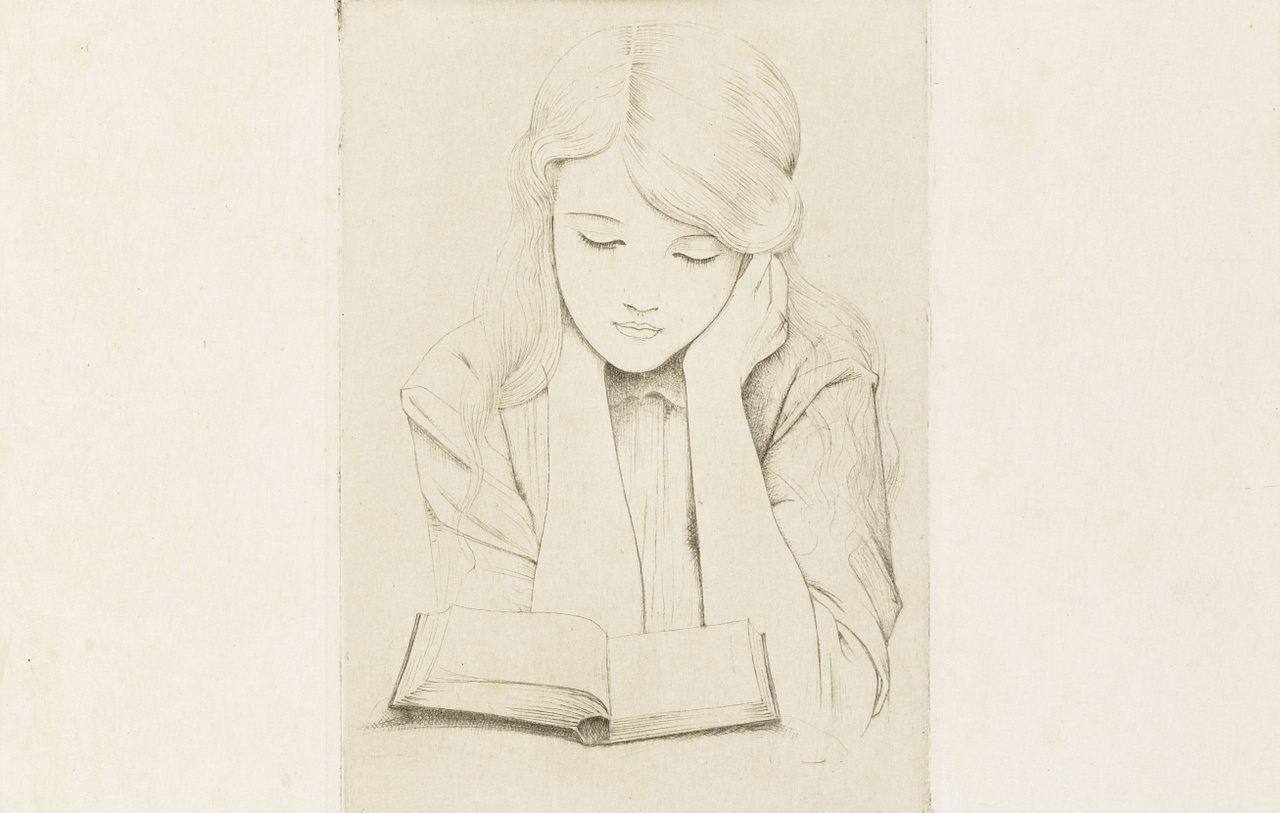 Jan Heyse, Lezend meisje, drogenaaldets, 1915. Collectie Zeeuws Museum, inv.nr. M61-029 (2).jpg